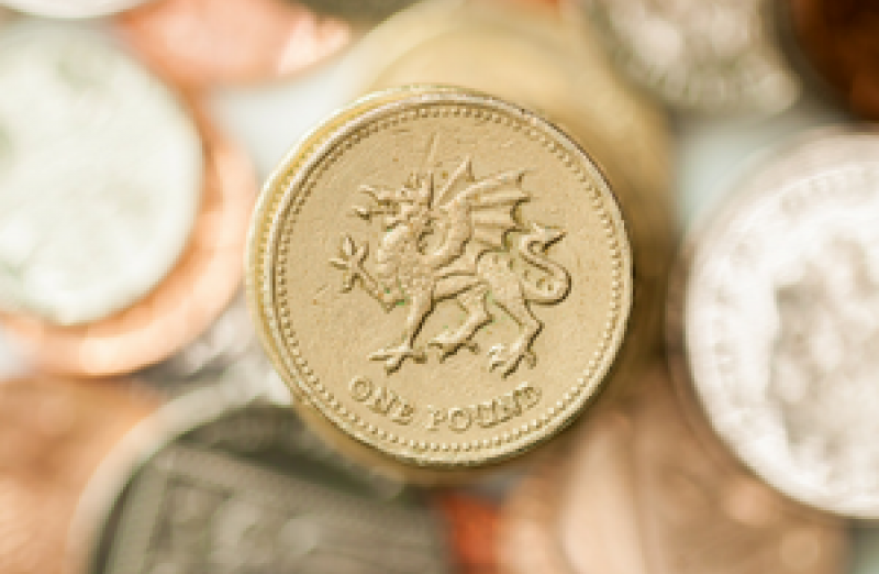 Pound coin with a Welsh dragon