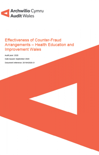 Health Education and Improvement Wales – Effectiveness of Counter-Fraud Arrangements report cover