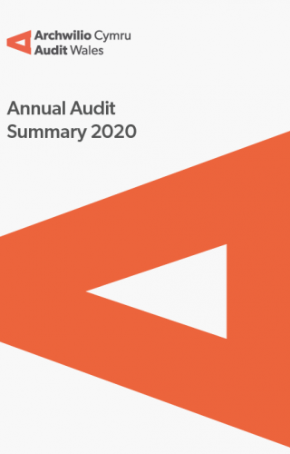 South Wales Fire and Rescue Authority – Annual Audit Summary 2019-20: report cover showing audit wales logo